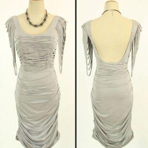 NEW JOVANI SILK Gray Evening Short Cocktail Dress
